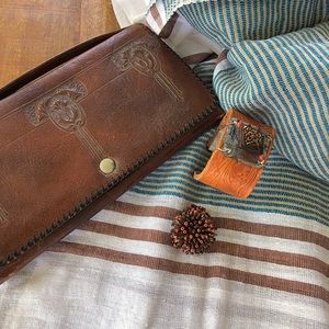 Handbags - Antique Leather Clutch, scarf, cuff, and ring!
